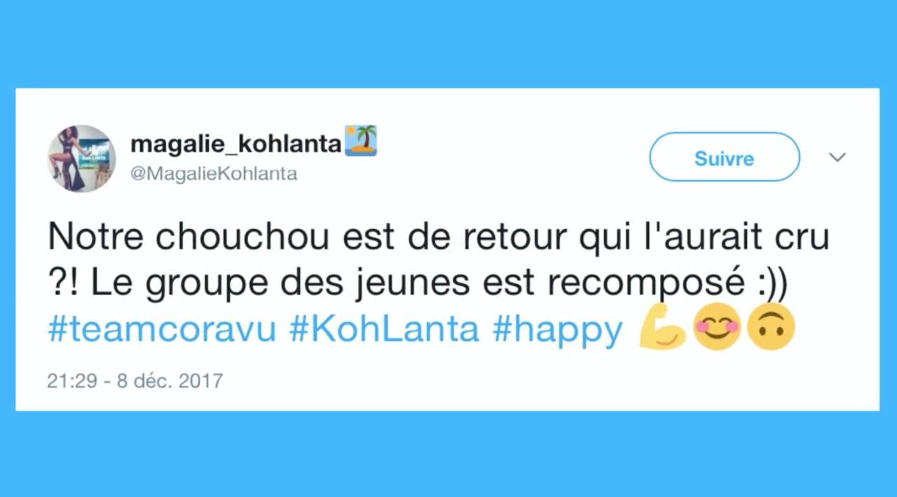 Koh-Lanta Fidji : le retour d'André ravit Magalie et les internautes (REVUE DE TWEETS)